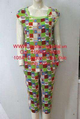Bộ đồ lanh mặc nhà bi xanh lá 1644018