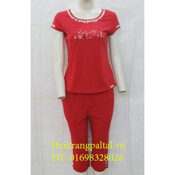 Bộ cotton wonnerful cộc tay quần ngố - đỏ 2359