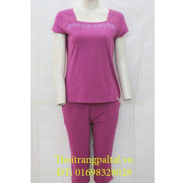 Bộ đồ cotton wonnerful cộc tay quần ngố - sen tím - 2618