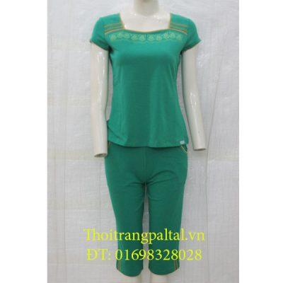 Bộ đồ cotton wonnerful cộc tay quần ngố - xanh - 2618