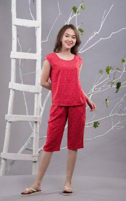 Bộ mặc nhà lanh L652N - màu đỏ