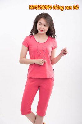 Bộ đồ cotton xuân hè wonnerful WFS5509N màu hồng san hô