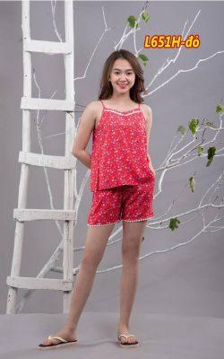 Bộ mặc nhà lanh L651H - màu đỏ