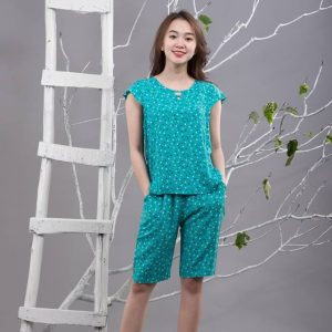 Bộ mặc nhà lanh L657N - màu xanh