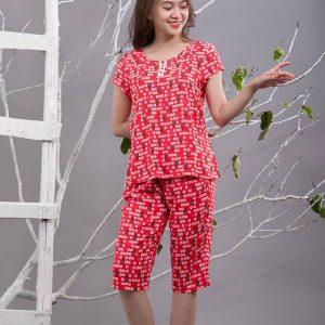 Bộ mặc nhà lanh L663N - màu đỏ