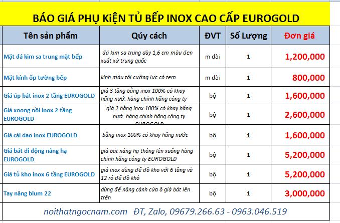báo giá phụ kiện inox tủ bếp cao cấp nhập khẩu