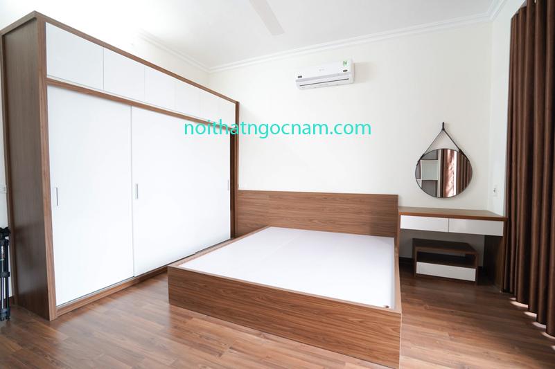 mẫu tủ quần áo và giường ngủ sử dụng melamine